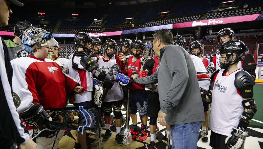 CALGARY, AB - JUNE 16, 2018: Junior Roughneck tryouts at the Scotiabank Saddledome on Saturday. The second annual Jr. Roughnecks program was comprised of the inaugural Jr. Roughnecks Jamboree – where the first tryout sessions for the Peewee, Bantam and Midget teams were held at the Scotiabank Saddledome June 14-17. The three Junior Roughnecks teams will compete at the 6th Annual Jr NLL tournament to play against NLL teams at the Toronto Rock Athletic Center in Oakville, Ontario from August 24 to 26, 2018. (Photo by Jenn Pierce/Calgary Roughnecks)