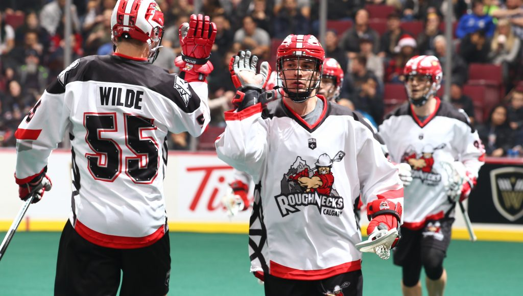 VANCOUVER, BC - DECEMBER 21, 2018:  The Vancouver Warriors play the Calgary Roughnecks at Rogers Arena during their game on December 21, 2018 in Vancouver, British Columbia, Canada.  (Photo by Devin Manky)