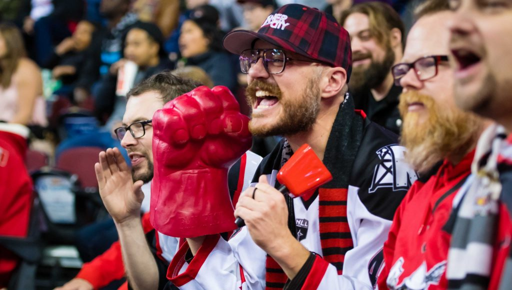 CALGARY, AB - NOVEMBER 16, 2019: The Calgary Roughnecks lost 12-9 against the Colorado Mammoth at the Scotiabank Saddledome on Saturday night. (Photo by Angela Burger/Calgary Roughnecks)